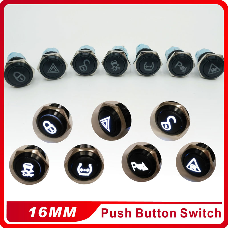 Wholesale 16mm Custom Symbo Latching Self-locking  Waterproof aluminum oxide Metal Push Button Switch  3V 5V 12V 24V  220V LED