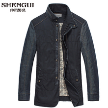 Hot Sale 2015 Men's Denim Patchwork Jackets Fashion Male Stand Collar Casual Coat Mens Plus Size Winter Coat Outerwear H5446