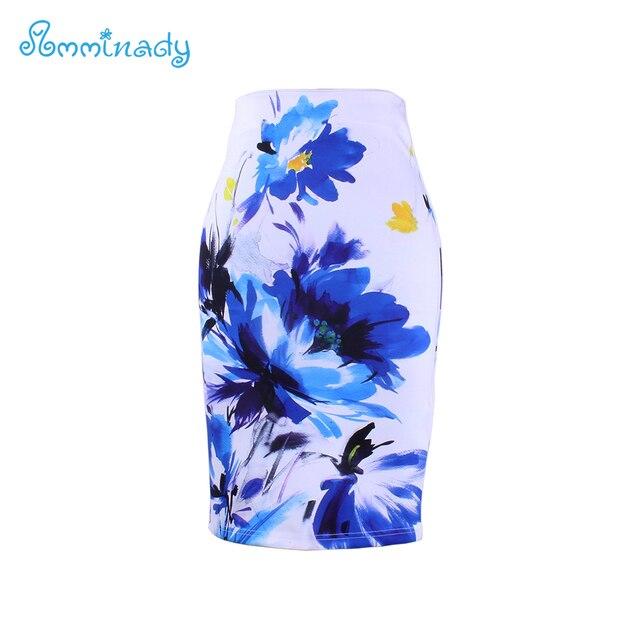 2017 новое поступление Для женщин карандаш юбки синий цветок печати Bodycon Леди миди Saia мода Faldas Mujer девушки Bodycon плавки