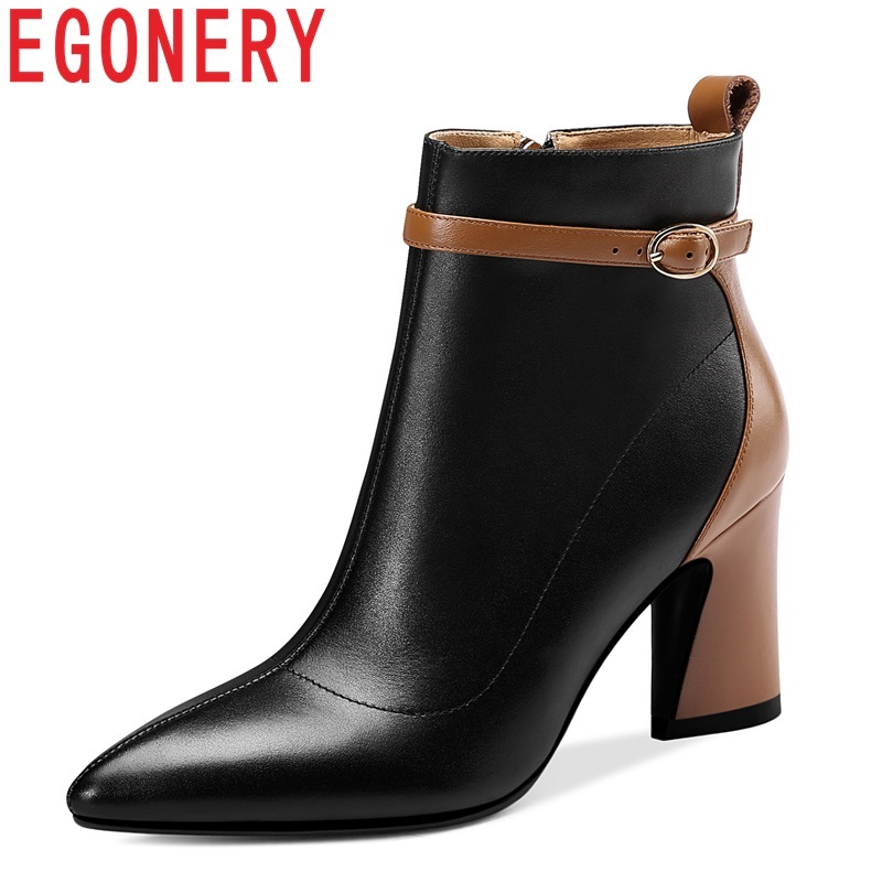 EGONERY women fashion ankle boots shoes pointed toe genuine leather high heels side zipper winter party heels woman booties 43CN egonery ankle boots 2017 height increasing star metal decoration women side zipper round toe fashion breathable winter shoes