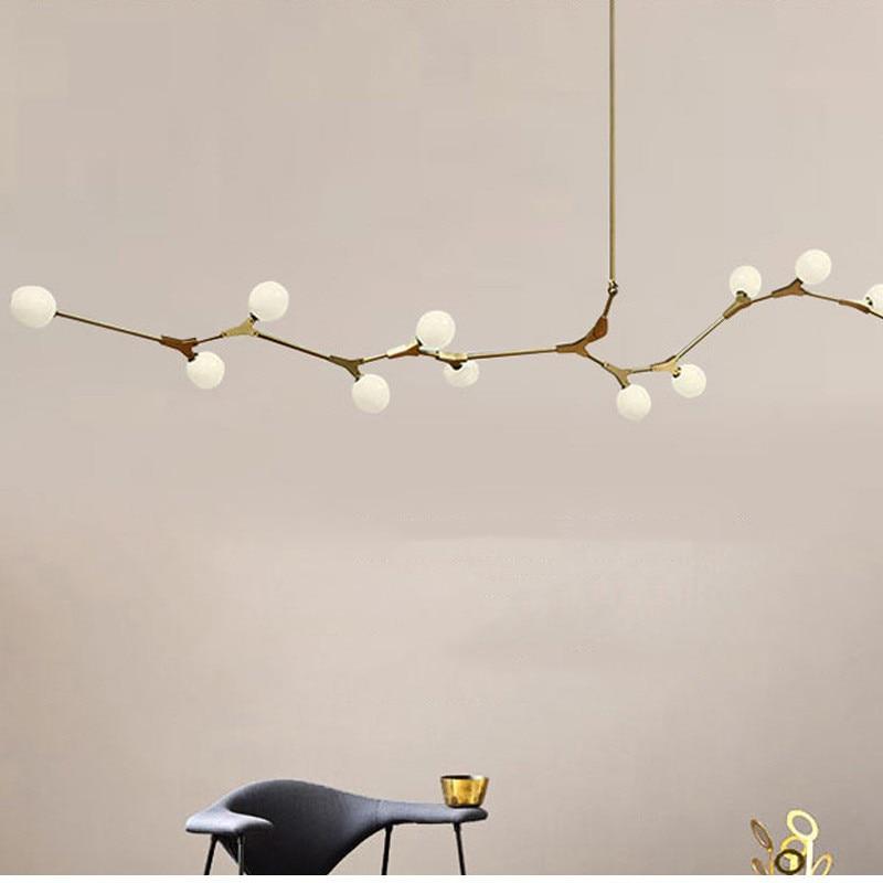 Boule de verre Loft Restaurant pendentif Led lampe Branches d'or salon chambre Led lustres maison déco lampe nordique livraison gratuite