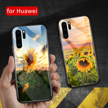 For Huawei P9 case Glass back sunflower P20 lite cover flora