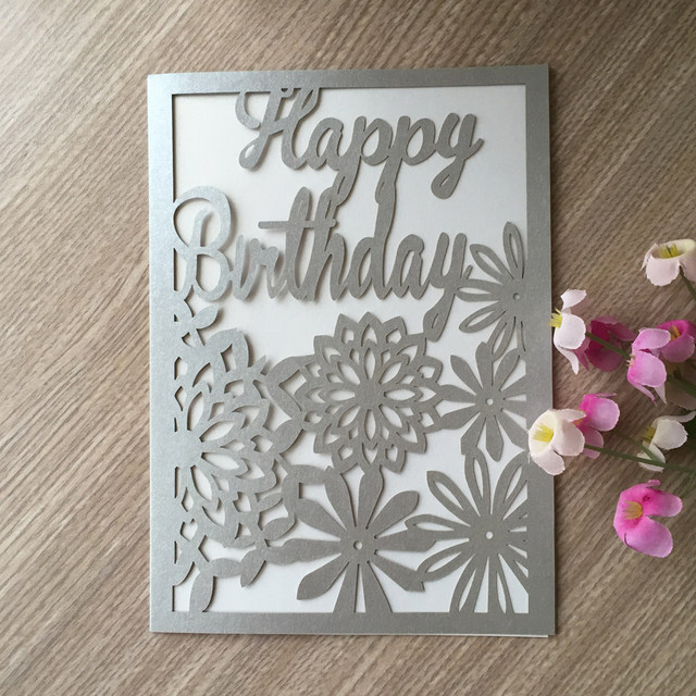 Online shop 50pcslot laser cut glossy paper birthday thank you 50pcslot laser cut glossy paper birthday thank you cards postcard greeting card happy birthday blessing gift card m4hsunfo