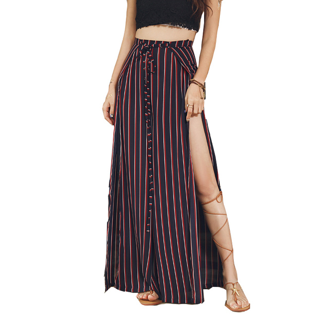 41d1f03f6f Sexy Side Split Wide Leg Boho Pants For Women Summer Floral Print High  Waist Lace Up Long Holiday Beach Chiffon Pant Trousers