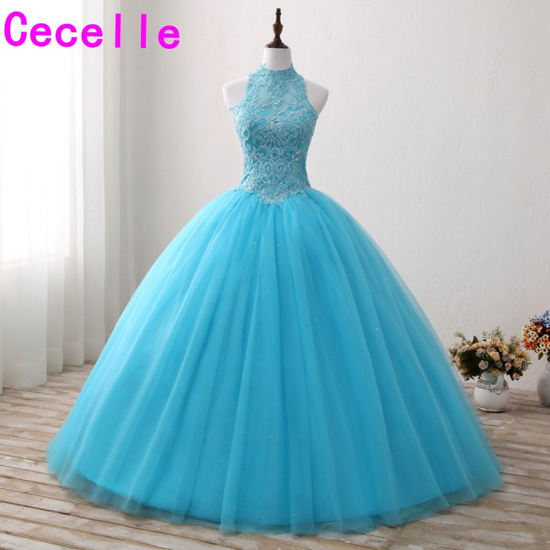 2019 Blue Ball Gown Long   Prom     Dresses   Sleeveless Beaded Lace Tulle Skirt Corset Teens Formal Princess   Prom   Gowns Custom Made