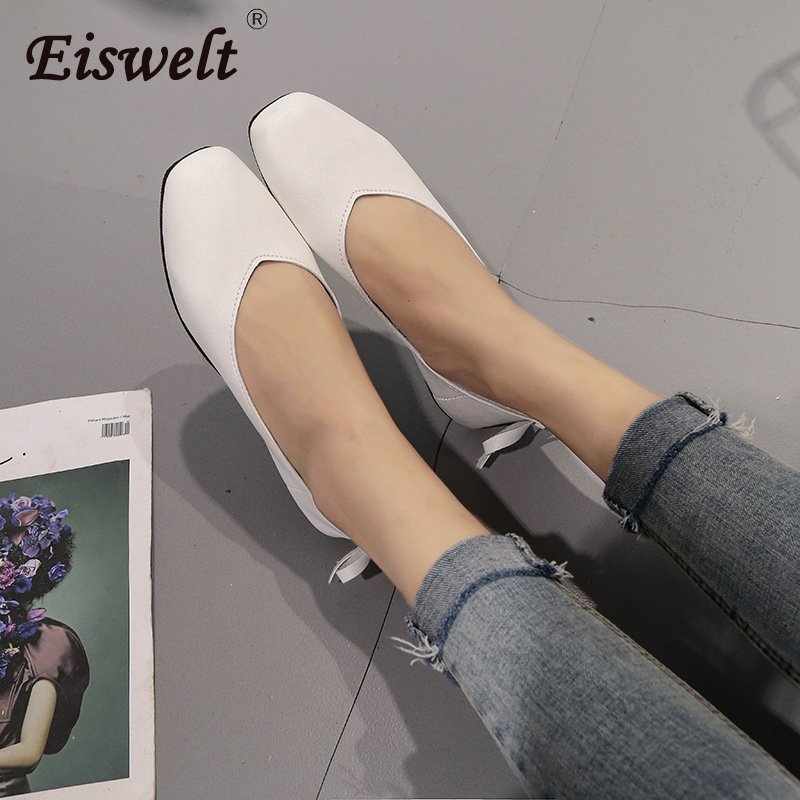 EISWELT Women's Flats Spring and Autumn Ladies Fashion Shoes Female Flat Square Leather Solid Summer Shoes Shallow Women Flats cresfimix zapatos women cute flat shoes lady spring and summer pu leather flats female casual soft comfortable slip on shoes