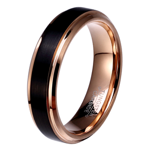 Image 2 - 8mm/6mm/4mm Black & Rose Gold Mens Tungsten Carbide Wedding Band for Boy and Girl Valentine Rings Russian Women Cool Jewelry