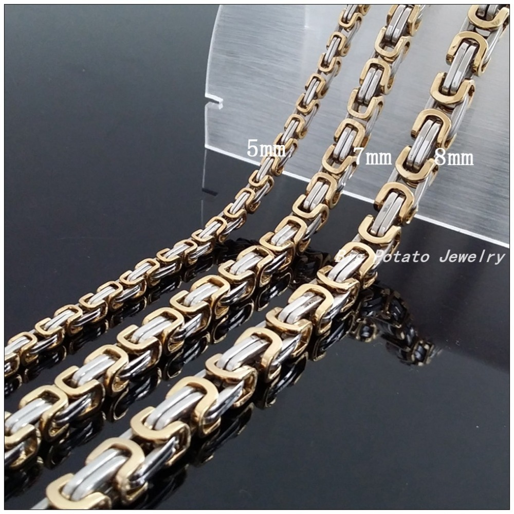 Hot Sale Three Style Different Width Chain 316L Stainless Steel Silver And Gold Bicycle Chain Men's/Boy's Necklaces Gift