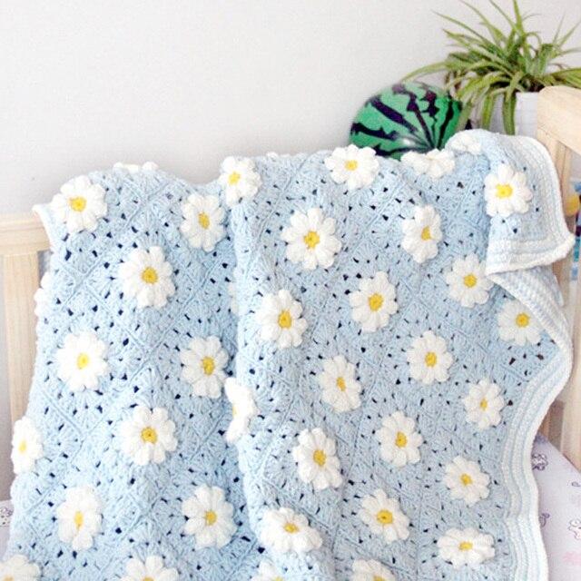 Mantas hechas a mano Crochet flor Rural hilo para camas Floral ...