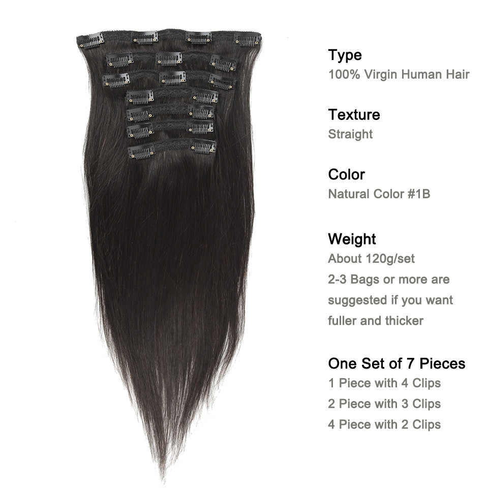 Pinza recta Yonne en extensiones de cabello humano cabello virgen brasileño 7 piezas 120 g/set Color Natural
