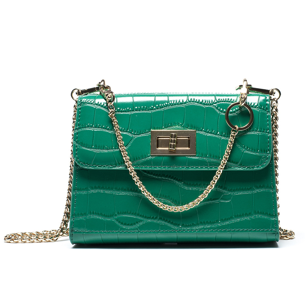 European Style Women's Genuine Leather Small Flap Fashion Crocodile Crossbody Bag With Gold Chains Little Lady Shoulder Bag F536 the little old lady in saint tropez