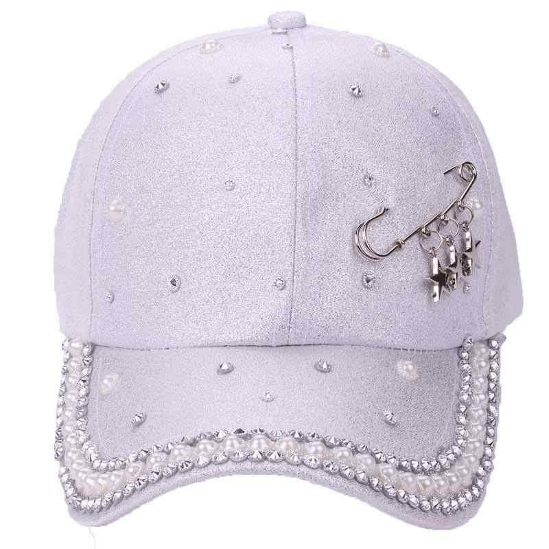 Sombrero de novedad para mujer 2018 nuevo gorro de perlas diseño personalizado anillos de estrella patrón Pin blanco negro sólido Primavera Verano otoño gorras femeninas