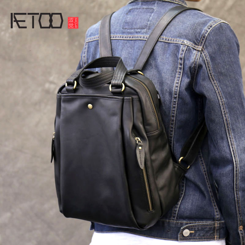 AETOO Fashion simple handbag soft leather travel backpack Korean version of the large capacity of the shoulder bag oxford bag korean version of the female students shoulder bag large capacity backpack canvas backpacks