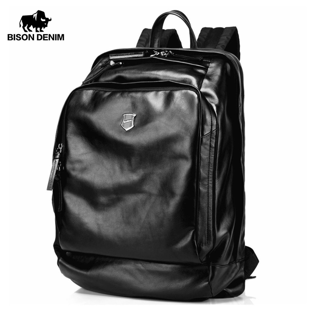 Bison Denim Soft Genuine Leather 17 inches Large Men Backpack Travel Laptop Backpack School Backpack Male