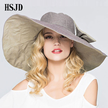 2018 Summer Cotton Large Wide Brim Anti-UV Sun Hat Bowknot Double-sided Foldable Beach Hats For Women Fashion Lady's Floppy Hat