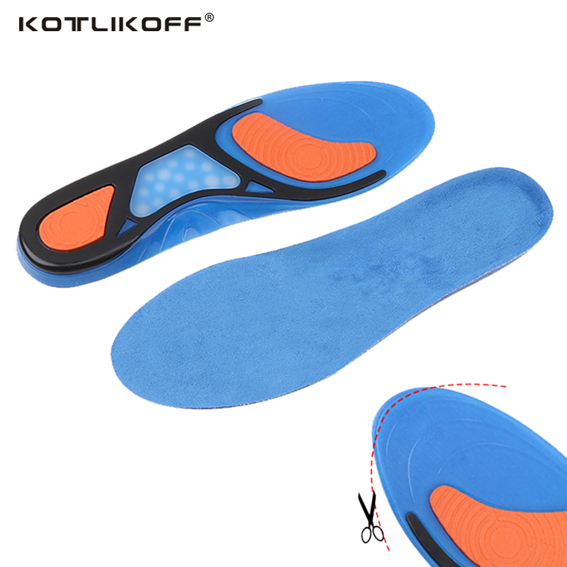KOTLIKOFF Sport Insole Gel Massaging Insole Plantar Fasciitis Heel Arch Support Orthopedic Plantar Fasciitis Silicone Insole 2016 1 pair large size orthotic arch support massaging silicone anti slip gel soft sport shoe insole pad for man women