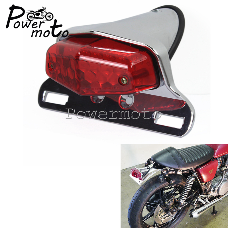 Motorcycle Chrome Lucas Style Retro LED Tail Light Brake Stop Lamp Licence Plate Light For Harley Bobber Cafe Racer Triumph|  - title=