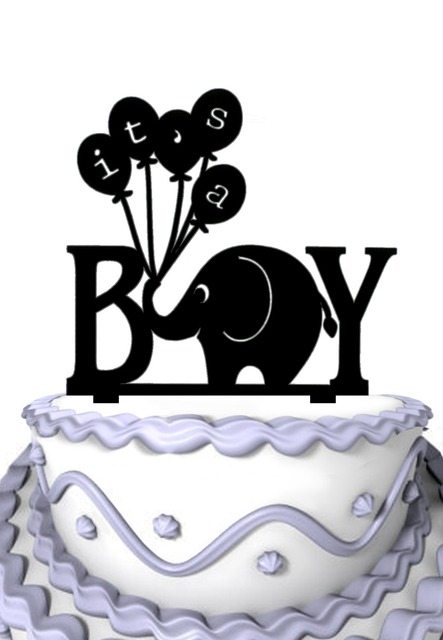 Funny Its a BOY Elephant Silhouette Cake Topper Baby Shower Cake