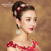 Himstory Vintage Sunflower Crystal Rhinestones Hairbands Luxurious 2019 Newest Bridal Headband Wedding Hair Accessories