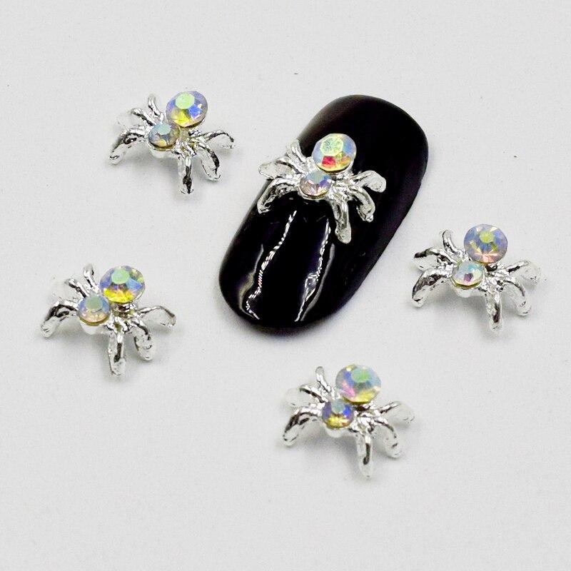 BELESHINY 10pcs / bag spider design flash alloy nail art diamond nail decoration DIY manicure accessories SS040