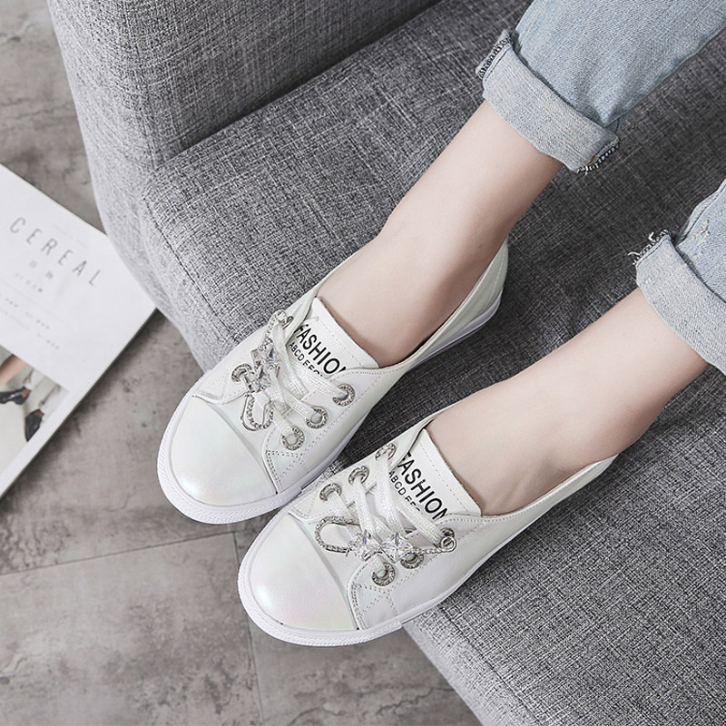 Jookrrix 2018 New Fashion Brand Girl Casual White Shoes Women Crystal Real Leather Sneaker Lady Leisure Shoes Youth Cross-tied цена