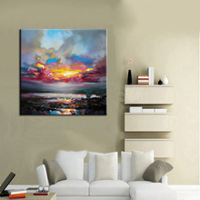 Wholesale Abstract Modern Midnight Seascape Moon Oil Painting Frameless Pictures On Canvas For Living Room Decor