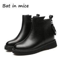 Женская мода в британском стиле резиновая подошва Сапоги черные ботинки Martin ботильоны резиновые сапоги без каблука теплые мотоциклетные Z312
