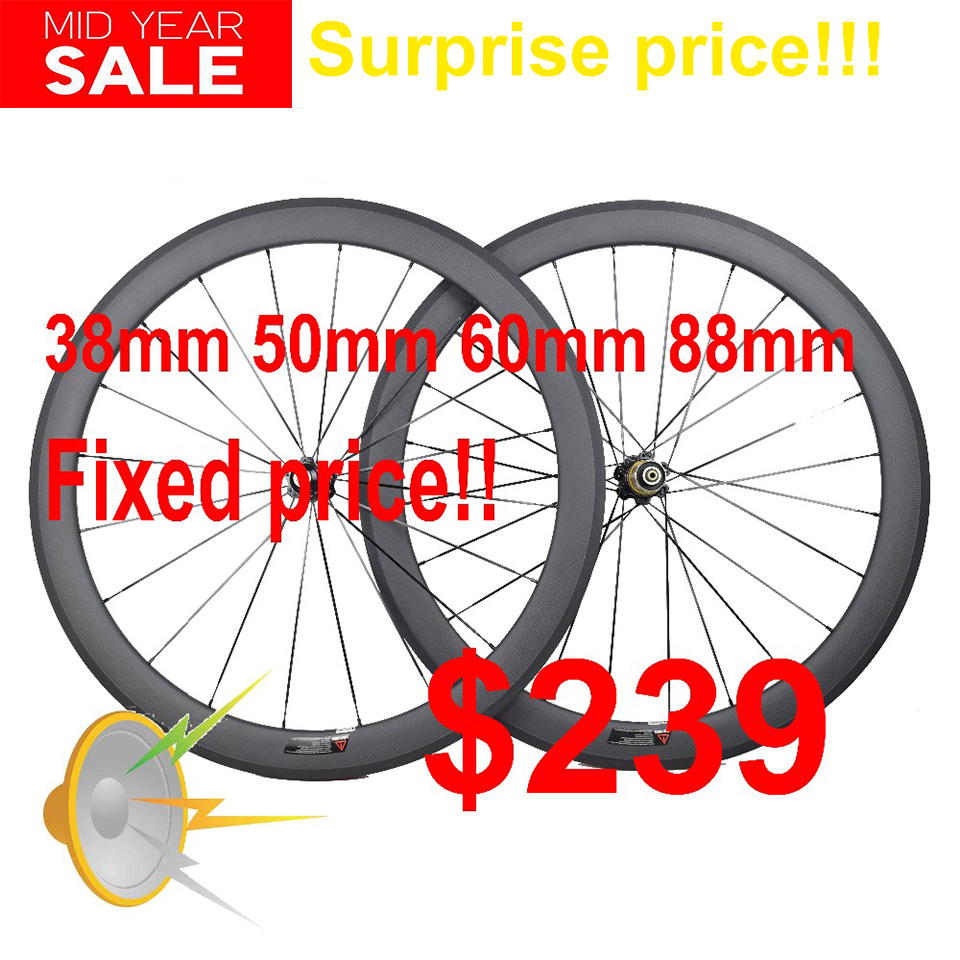 Ultra Light 700C Bicycle Carbon Wheels 24/30/35/38/45/50/55/60/75/88mm Deep Clincher Tubular Carbon Wheels Road Bike Wheels