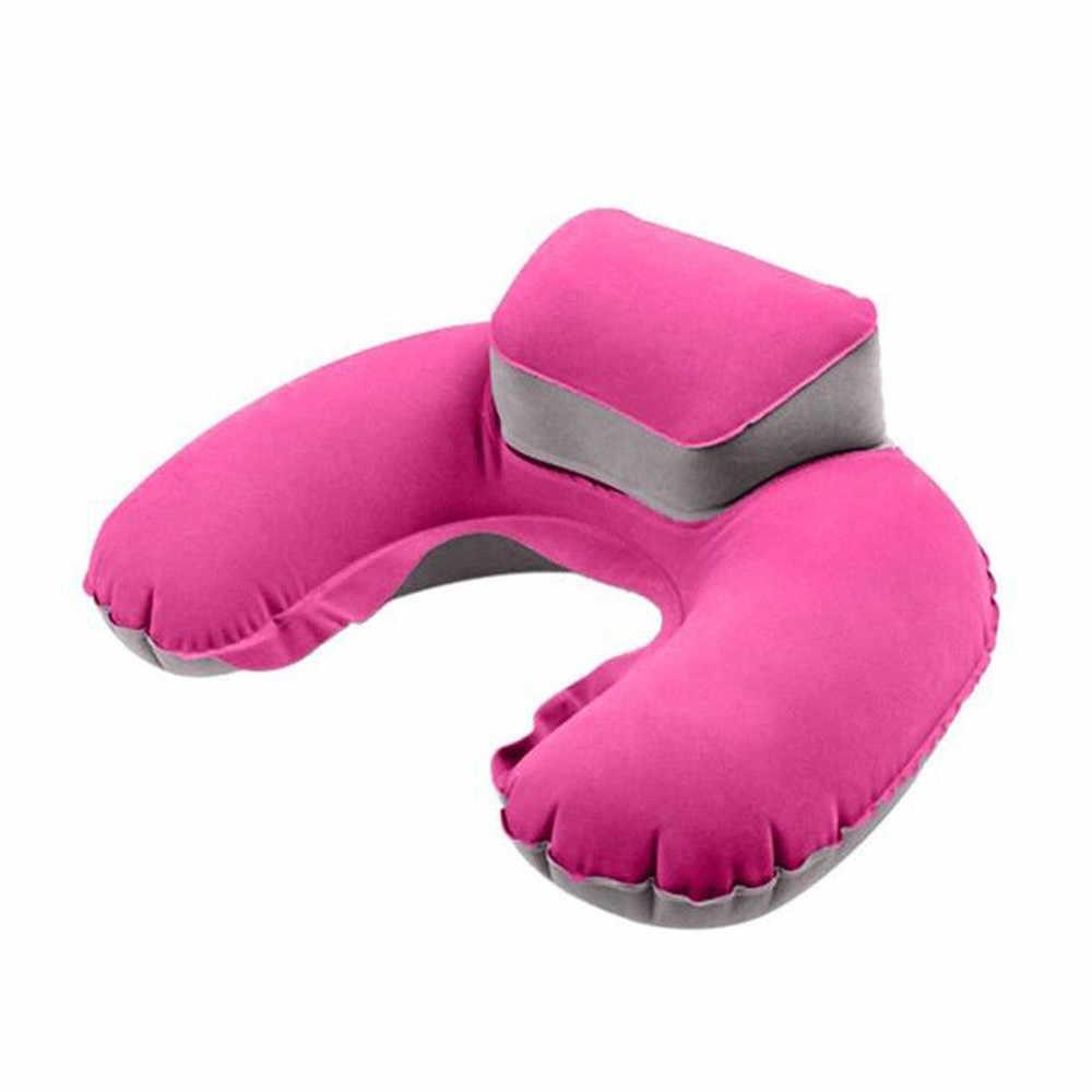 Портативная походная надувная Шейная Подушка u-образная подушка для шеи ПВХ Флокирование дорожные подушки в автомобиль мягкая подушка домашний текстиль