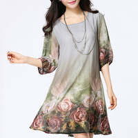 2017 Summer Style Women Dresses O Neck Print Casual Plus Size Women Clothing Chiffon Vestido De