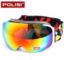 POLISI Winter Skiing Snowboard Eyewear Replaceable 2 Lenses Anti-Fog Goggles Men Women UV400 Snowmobile Ski Skate Snow Glasses