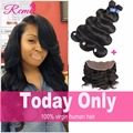Rosa Hair Products Brazilian Bundles With Closure Ear to Ear Lace Frontal Closure With Bundles Tissage Bresilienne Avec Closure