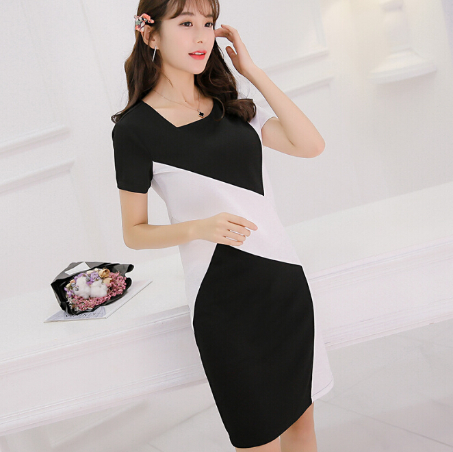 bc51a740fe Buy black and white bodycon korean fashion dress and get free shipping on  AliExpress.com