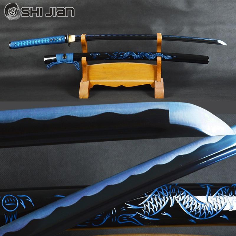Shijian Swords Japanese Samurai Katana Sword High Carbon Steel Sharp Blue Blade Battle Ready Sword Dragon Sheath Espadas Knife