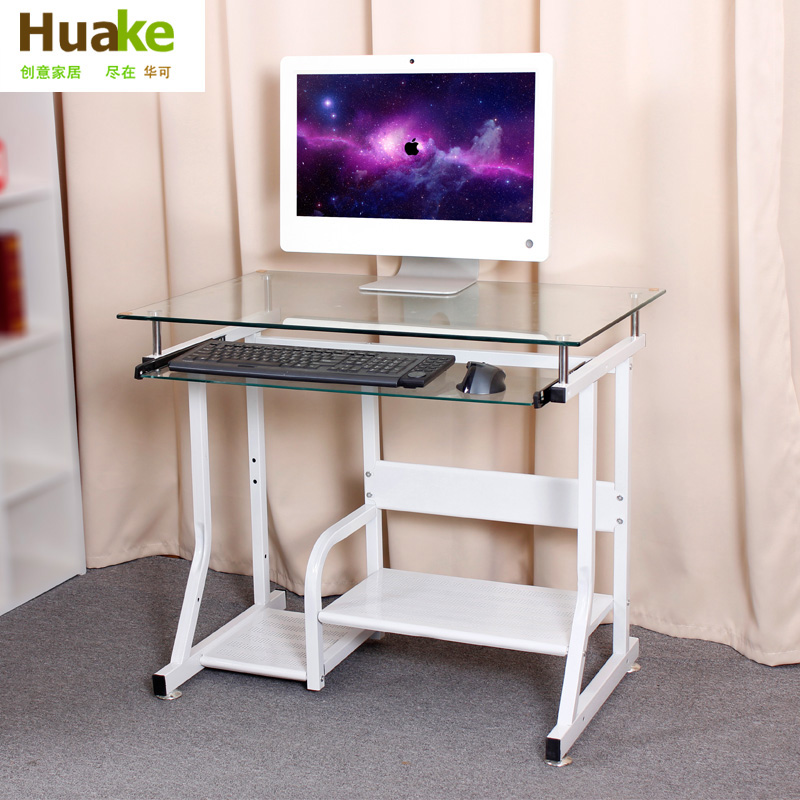 Glass computer desk minimalist home office desktop laptop for Minimalist home office desk