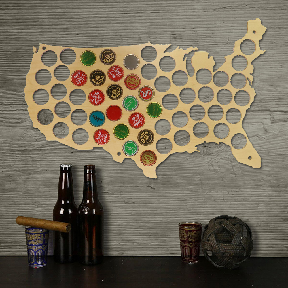 1Piece Creative Wooden Beer Cap Maps Beer Bottle Caps Map