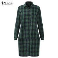 2017 ZANZEA Plaid Check Tops Women Turn Down Collar Long Sleeve Autumn Cotton Linen Midi Vestido