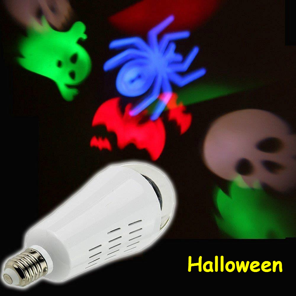 rgb light bulb led projector lamp light e27 rotating snowflake bulb lamp crystal ball stage light - Halloween Light Bulbs