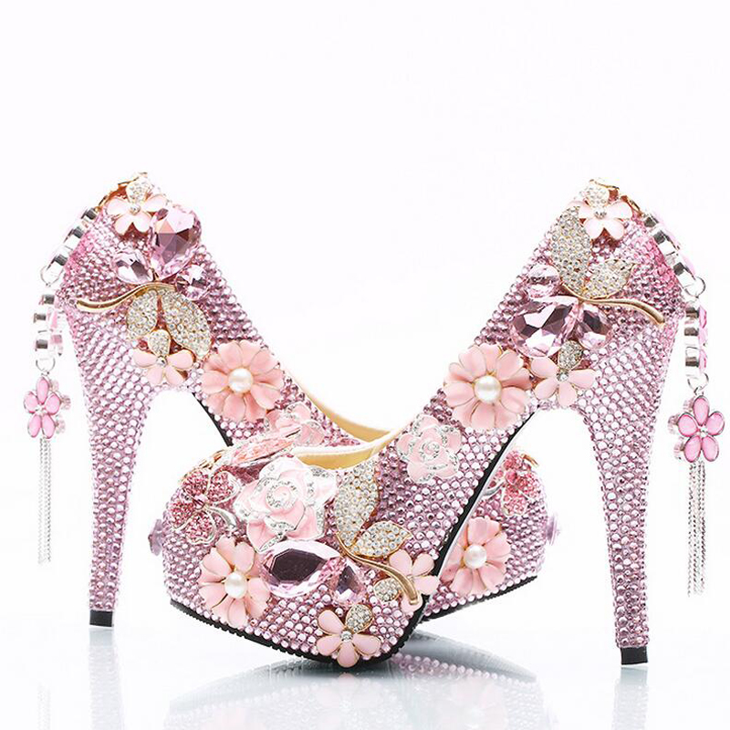 Strass Size Women Da Scarpe Sposa 14cm Tacchi Cristallo Party Prom Pompe Pink 8cm Heels Lussuoso Di 11cm Heels Piattaforme Alti Plus Rosa pink Cenerentola 5qZacwnFf