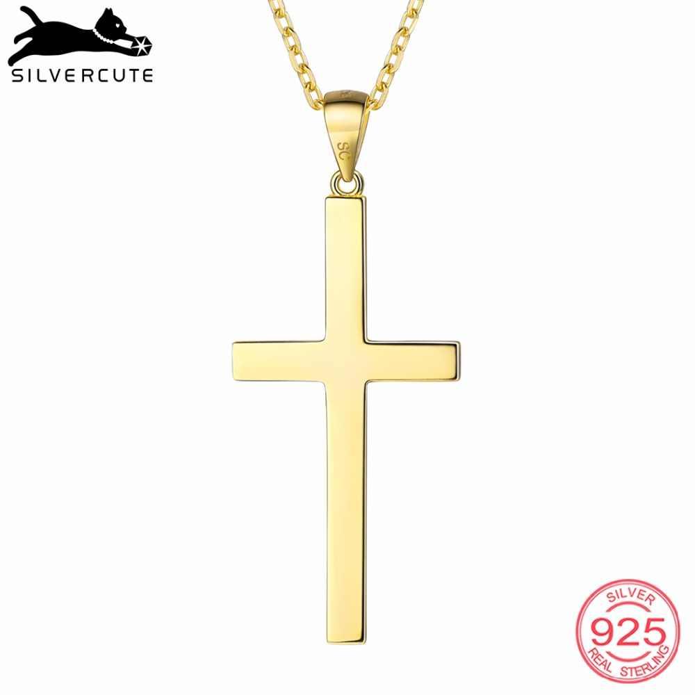 Silvercute Minimalis Cross Kalung untuk Wanita Otentik 925 Sterling Perak Warna Emas Kristen Ortodoks Baik Perhiasan SCP6450B