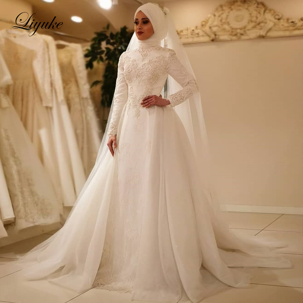 Liyuke Vestido De Noiva 2019 Elegant Long Sleeve O Neck Muslim Wedding Dresses Tulle Zipper Back