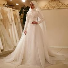 Liyuke Vestido De Noiva 2019 elegancka, długa rękaw O Neck muzułmańskie suknie ślubne tiul Zipper koronka z tyłu islamskie suknie ślubne