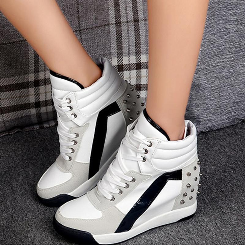 Tacón La Remache Nuevos Mujer Oculta Zapatos A Zapatillas Comodidad Cuña Moda 2018 Alto Negro Deporte blanco De FwC0txnqW7