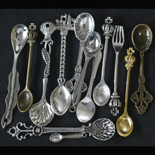 Mixed Spoon Fork Pendant Charms For Jewelry Making DIY Handmade Fashion Accessories Vintage Antique Silver