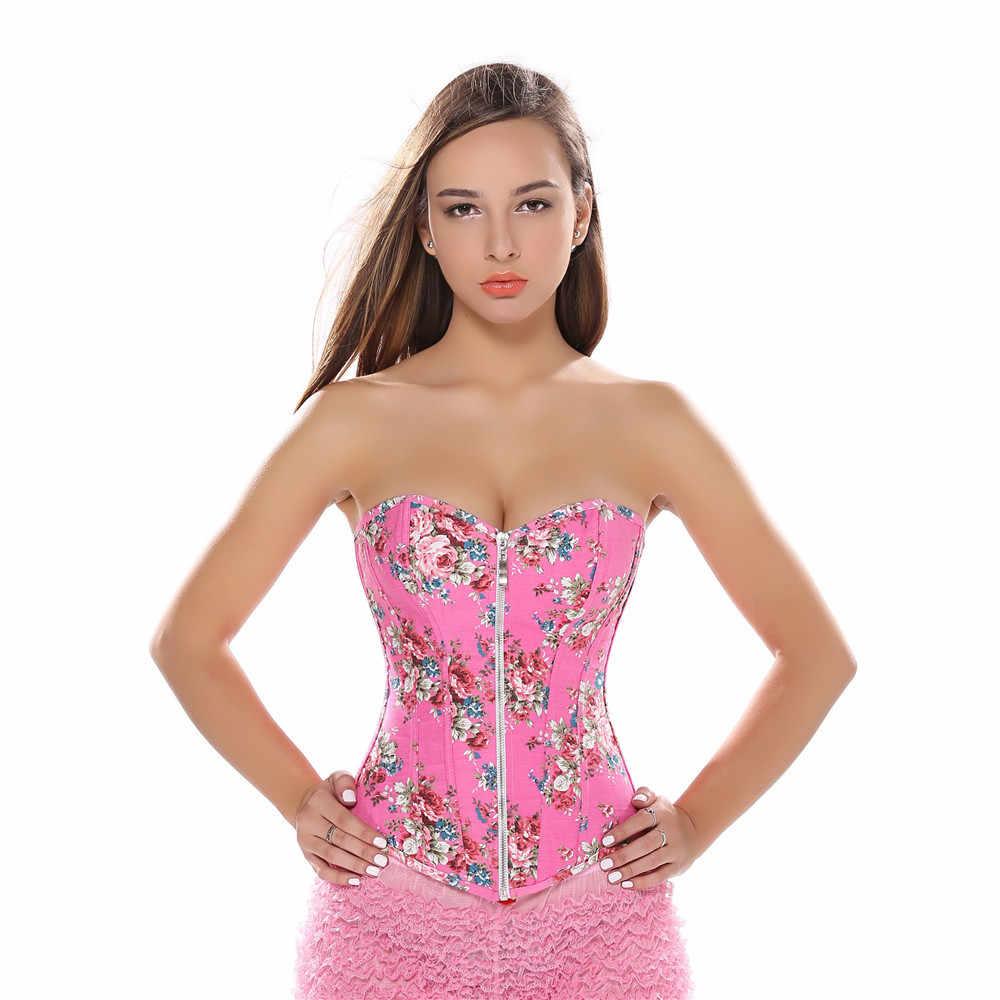 Rosa Floral Demin Korsett Jeans Druck Jacquard Reißverschluss Overbust Korsett Mit Heißer Mini Tutu Rock Plus Größe S-2XL