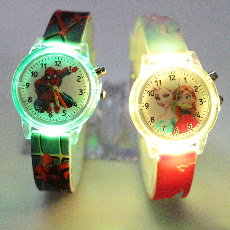 Boys Watch Clock Light Source Spiderman Gift Party Elsa Girls Colorful Princess Kids