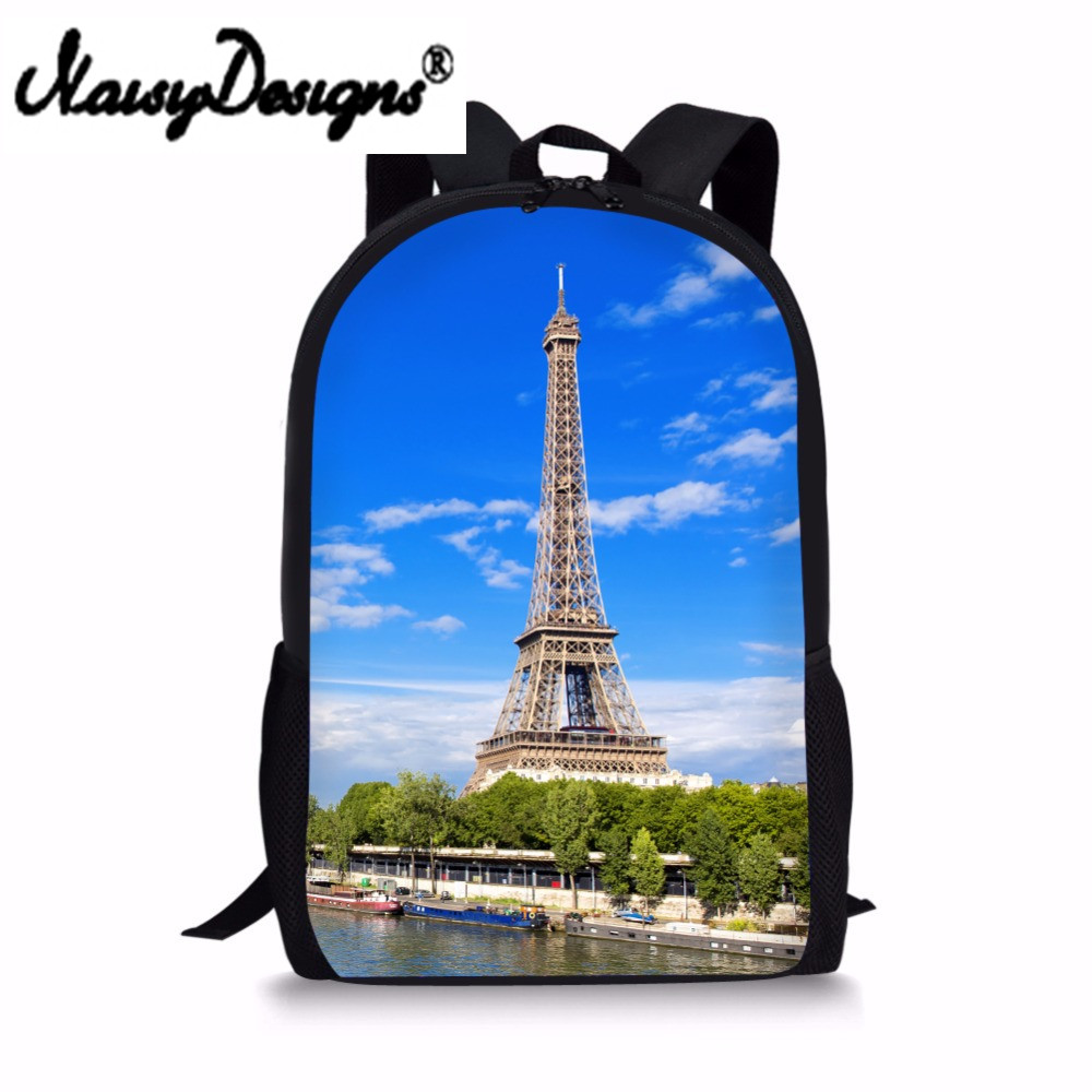 Eiffel Tower/Retro Printed Children School Bags For Teenager Girls Bookbag Women Student ...