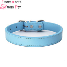 (1 piece / lot )12 colors  Pu Leather Puppy Small Big Large Pet Dog Collars Plain for Dogs XS S M L