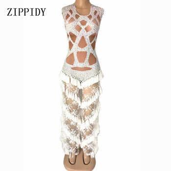 Women Fashion Lace Rhinestones Tassel Jumpsuit Stage Rompers Leggings Costume Stretch Bodysuit Nightclub Outfit Bar Wear