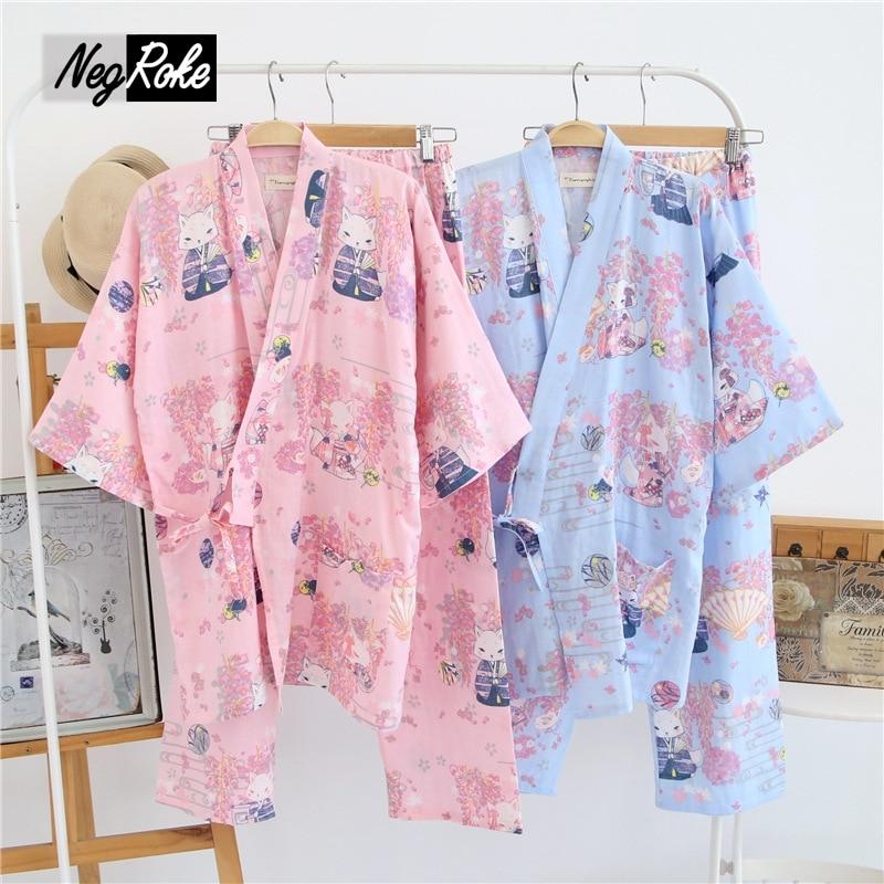 2017 spring simple fresh 100% cotton cute sexy Purple fox japanese kimono robe womens pajamas sets yukata night suit for ladies